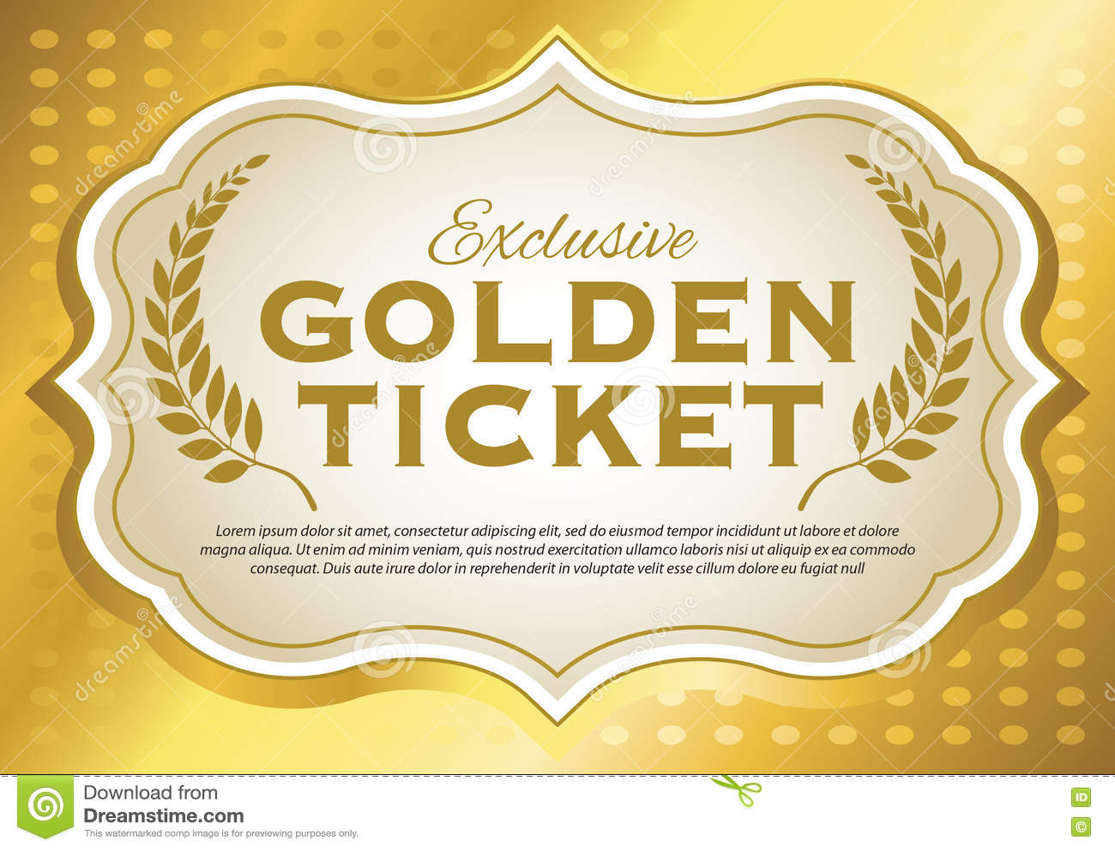 Golden Ticket Stock Vector Illustration Of Metallic 77593556