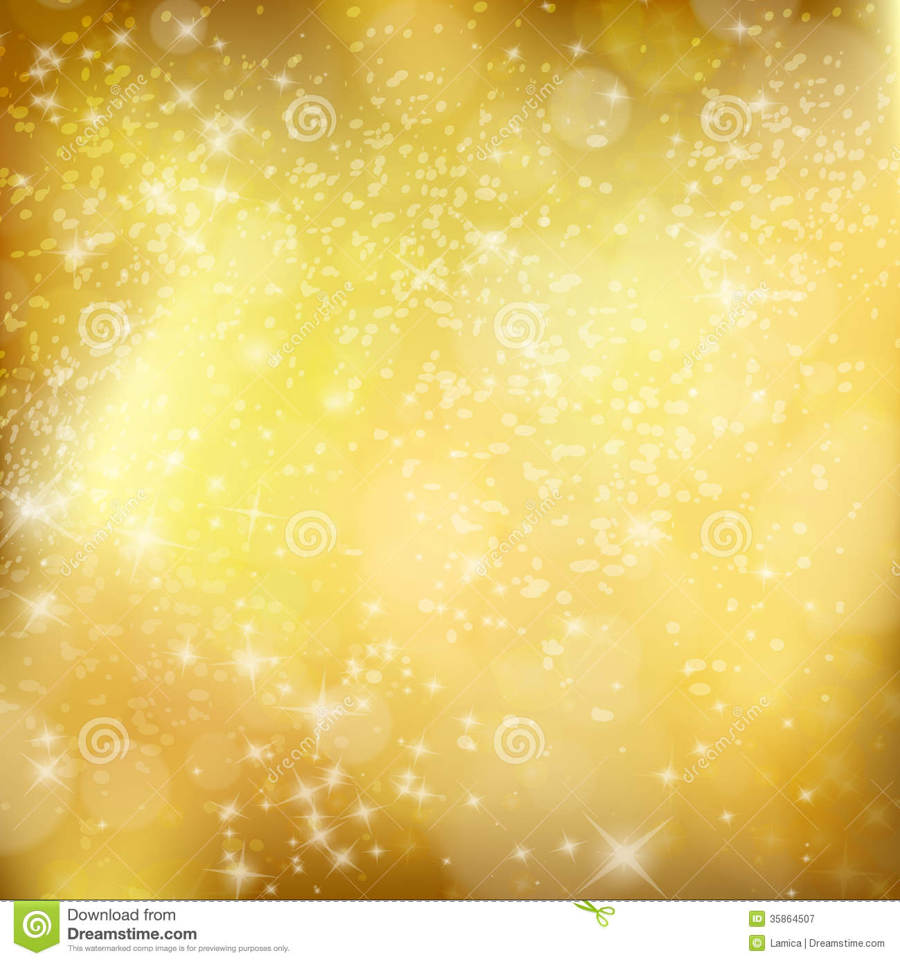 Golden Xmas Background Abstract Winter Design With Stars