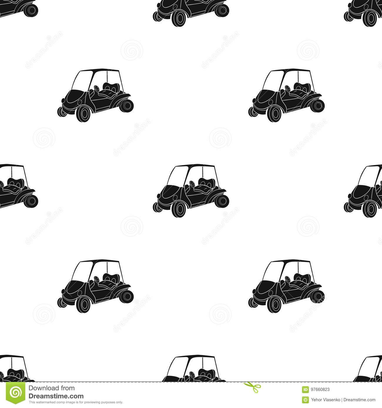 Golf Cart Icon In Black Style Isolated On White Background