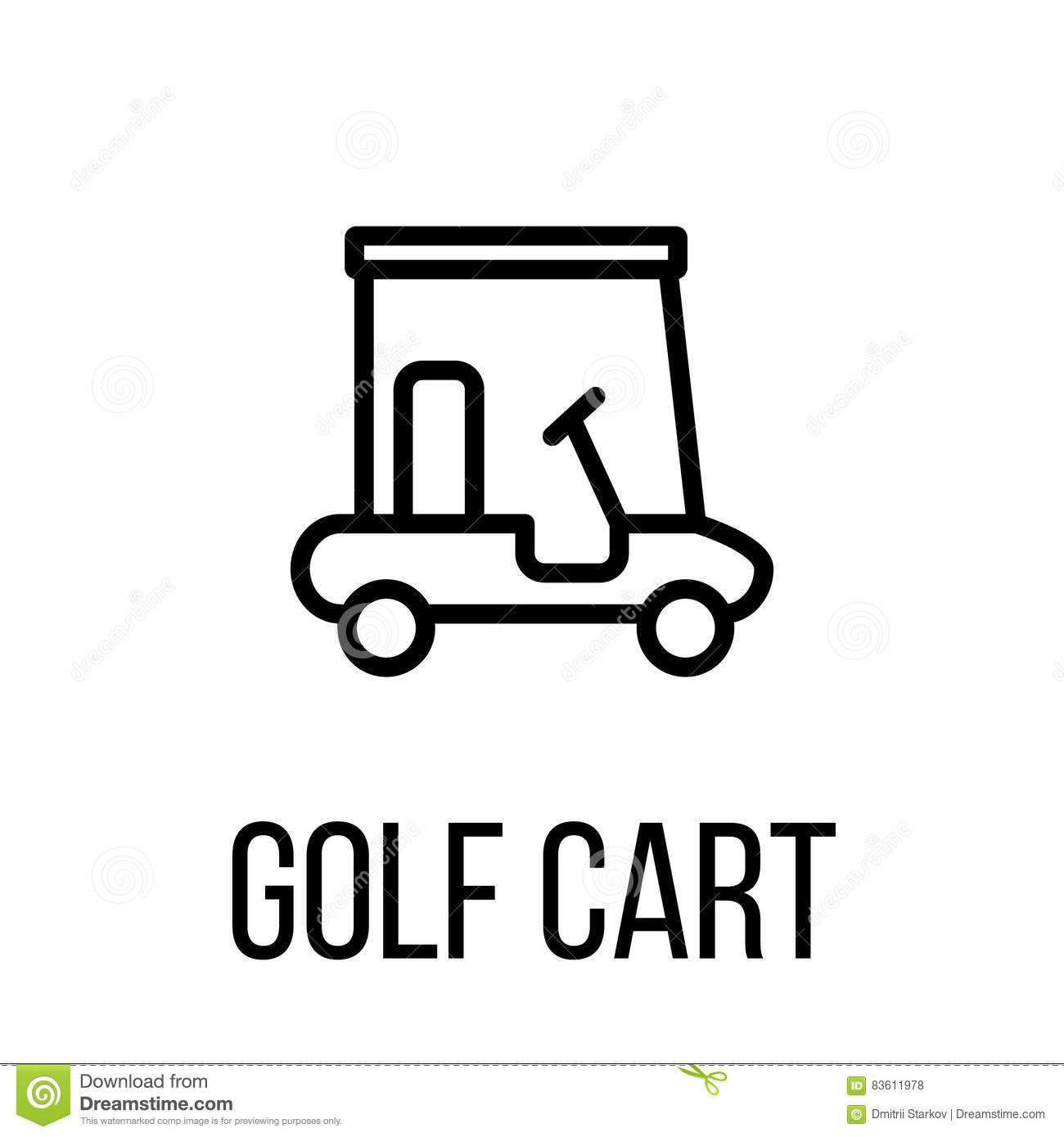 Golf Cart Icon Or Logo In Modern Line Style Stock Vector