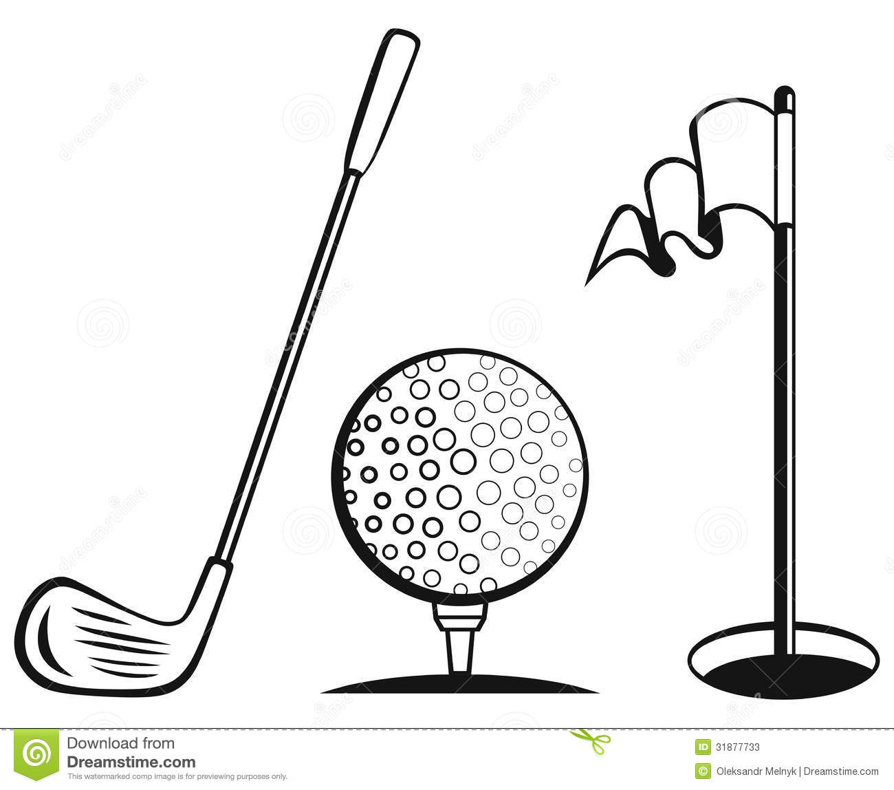 Golf Icon Set Stock Vector Illustration Of Black Image
