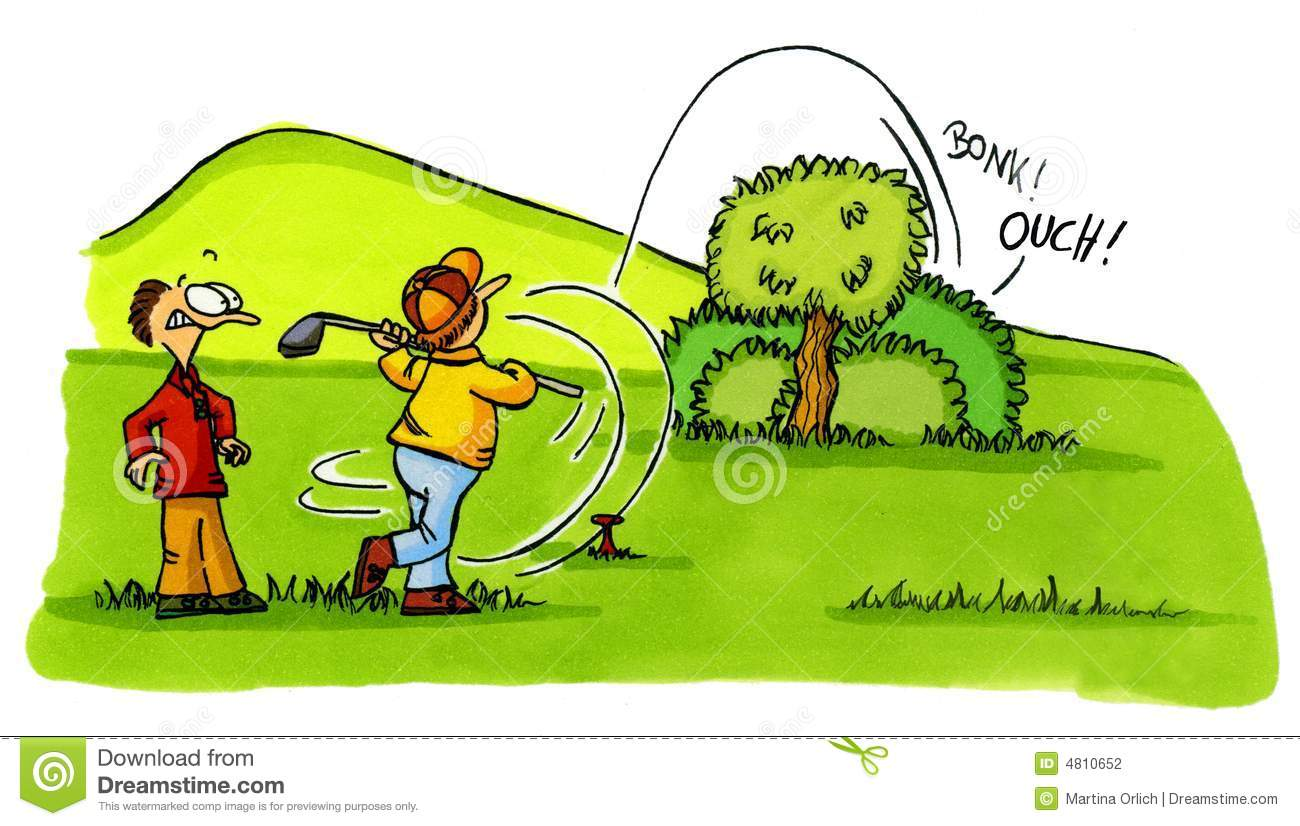 Golfer Accident Golf Cartoons Series Number 2 Stock