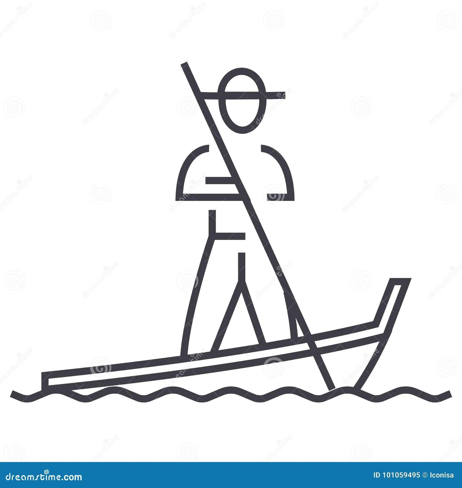 Gondolier On Gondola Cartoon Vector