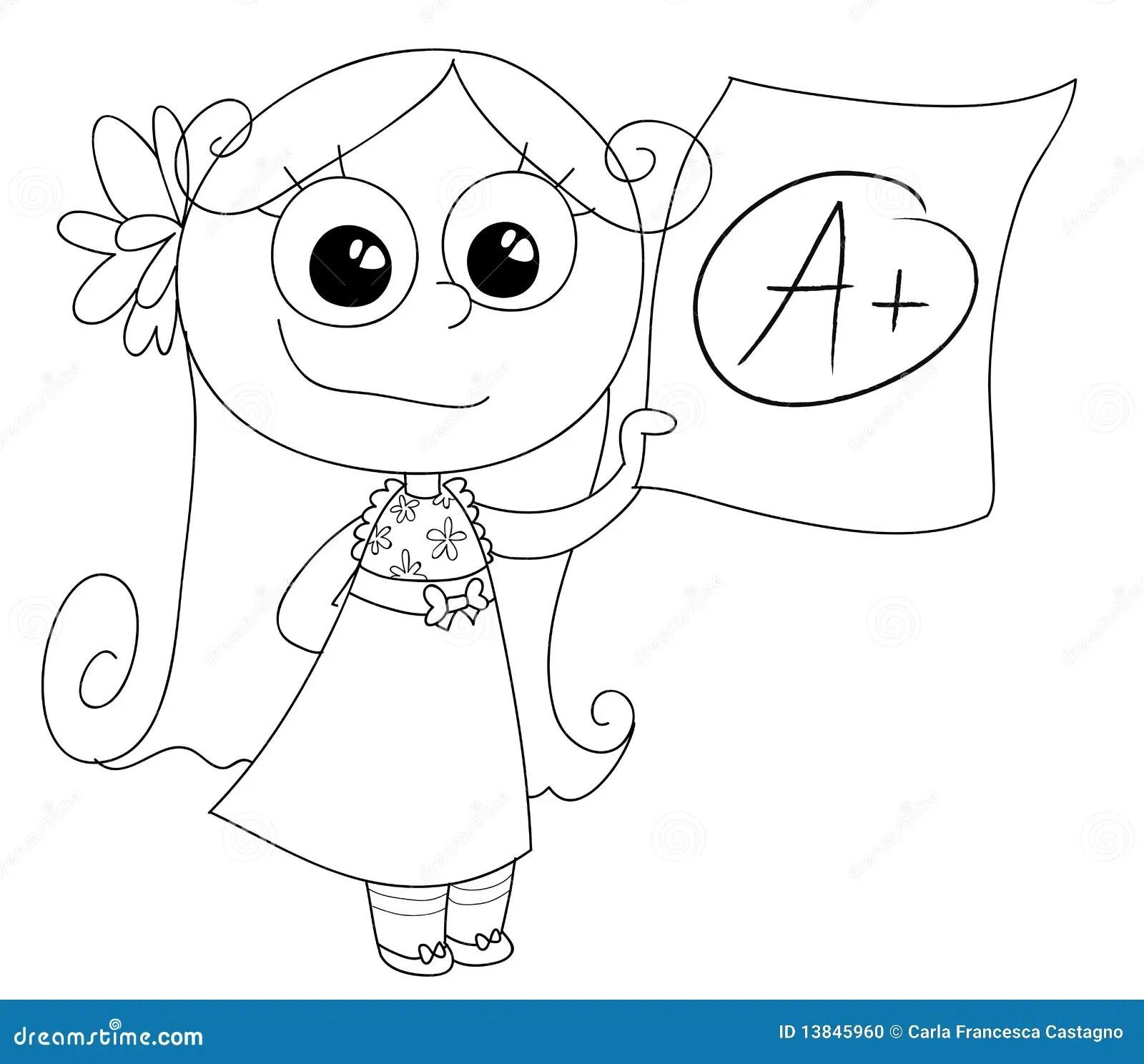 Good grade A+ vector stock vector. Illustration of student