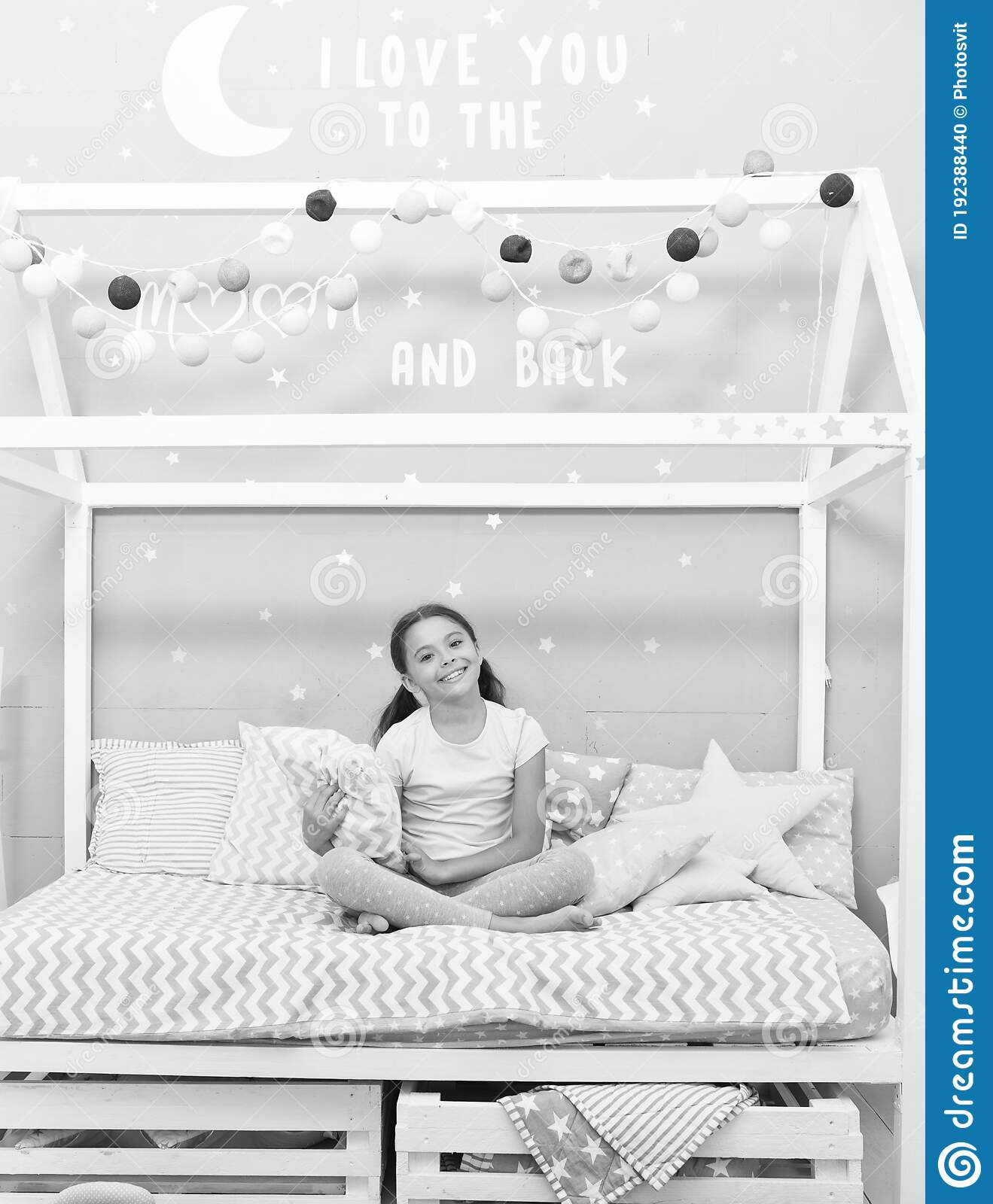 Good Morning Sweet Dreams Fashion Pajamas My Bedroom My Rules Cute Cozy Bedroom For Small Girl Girl Relaxing Stock Photo Image Of Happiness Good 192388440