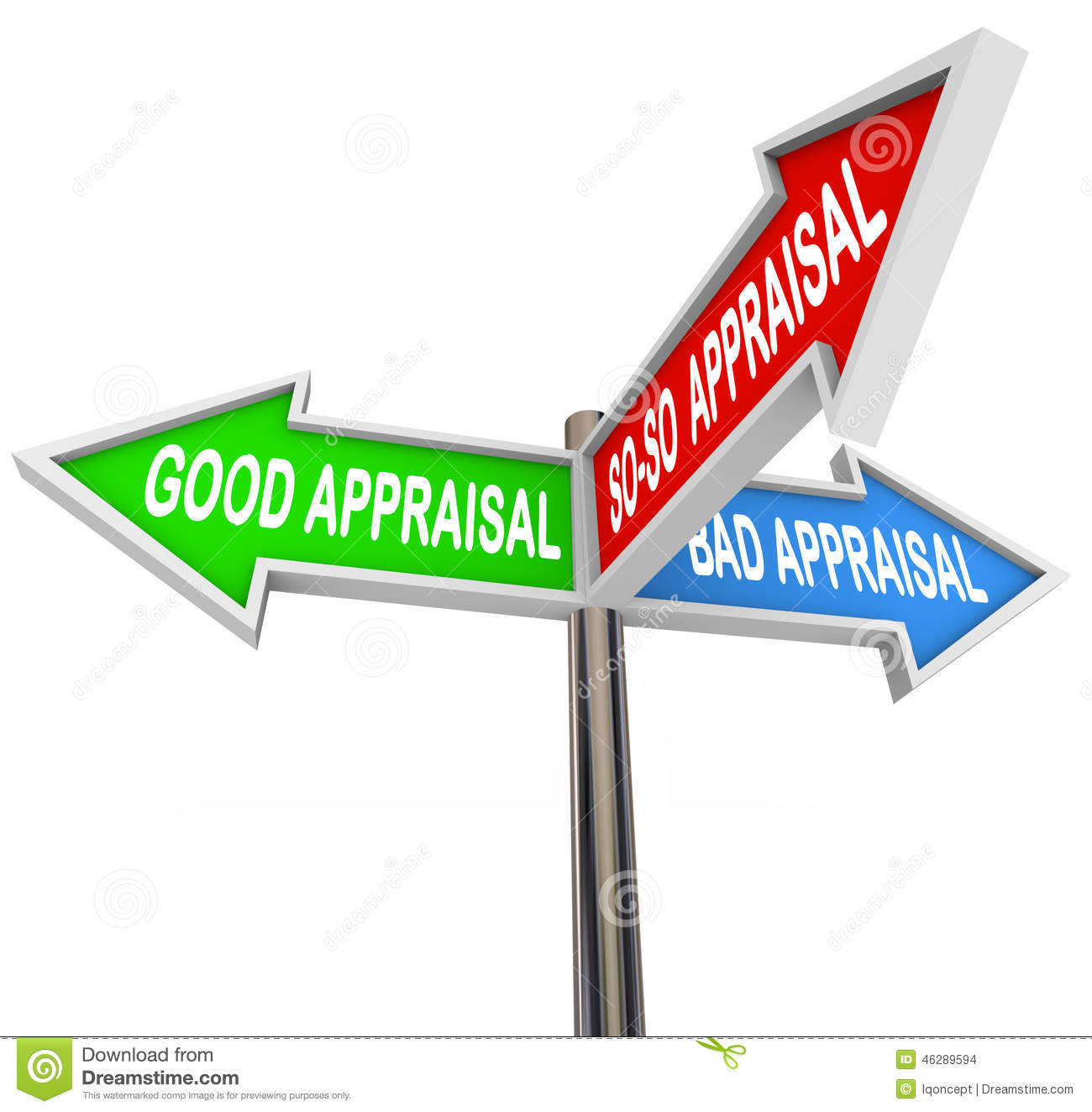 Good Vs Bad Appraisal Assessment Evaluation Signs Stock