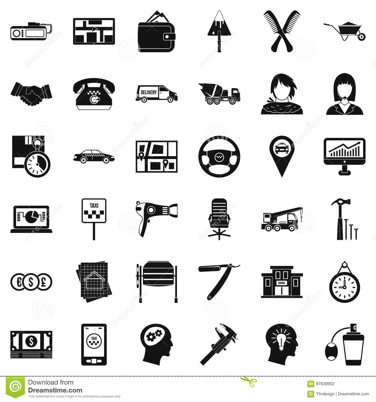 Good Work Icons Set Simple Style Stock Vector