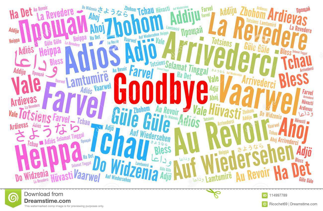 Goodbye In Different Languages Word Cloud Stock