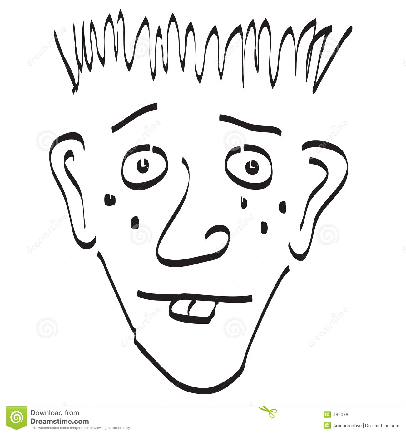 Goofy Face Doodle Black And White Stock Illustration