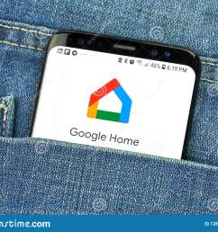 google home on a phone screen in a pocket [ 1600 x 1214 Pixel ]