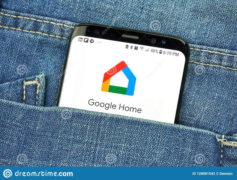 medium resolution of google home on a phone screen in a pocket