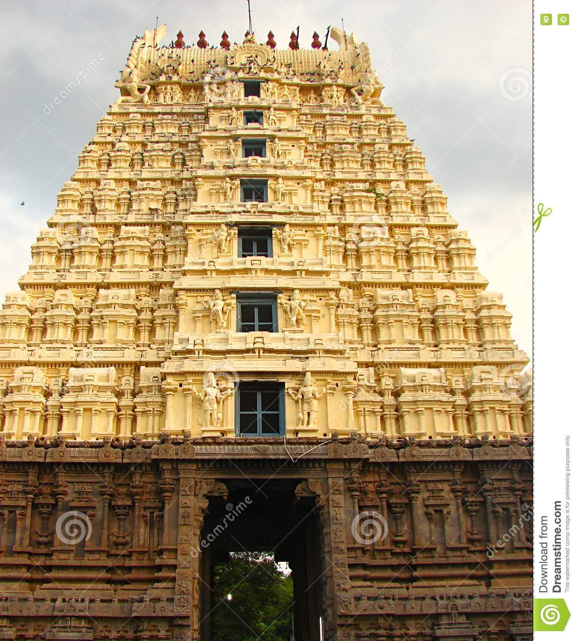 Gopura Gopuram - A Gate In Hindu Temples Of Dravidian Style Stock Photo - Image of decorated. monument: 80302094