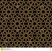 Gorgeous Seamless Arabic Pattern Design. Monochrome Gold