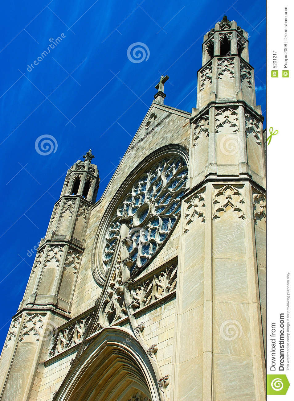 Gothic Architecture In Blue Sky Stock Image  Image 5201217