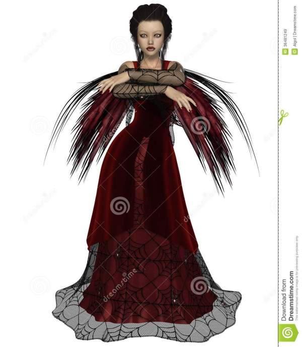 Gothic Fairy In Red Stock Illustration. Of Female