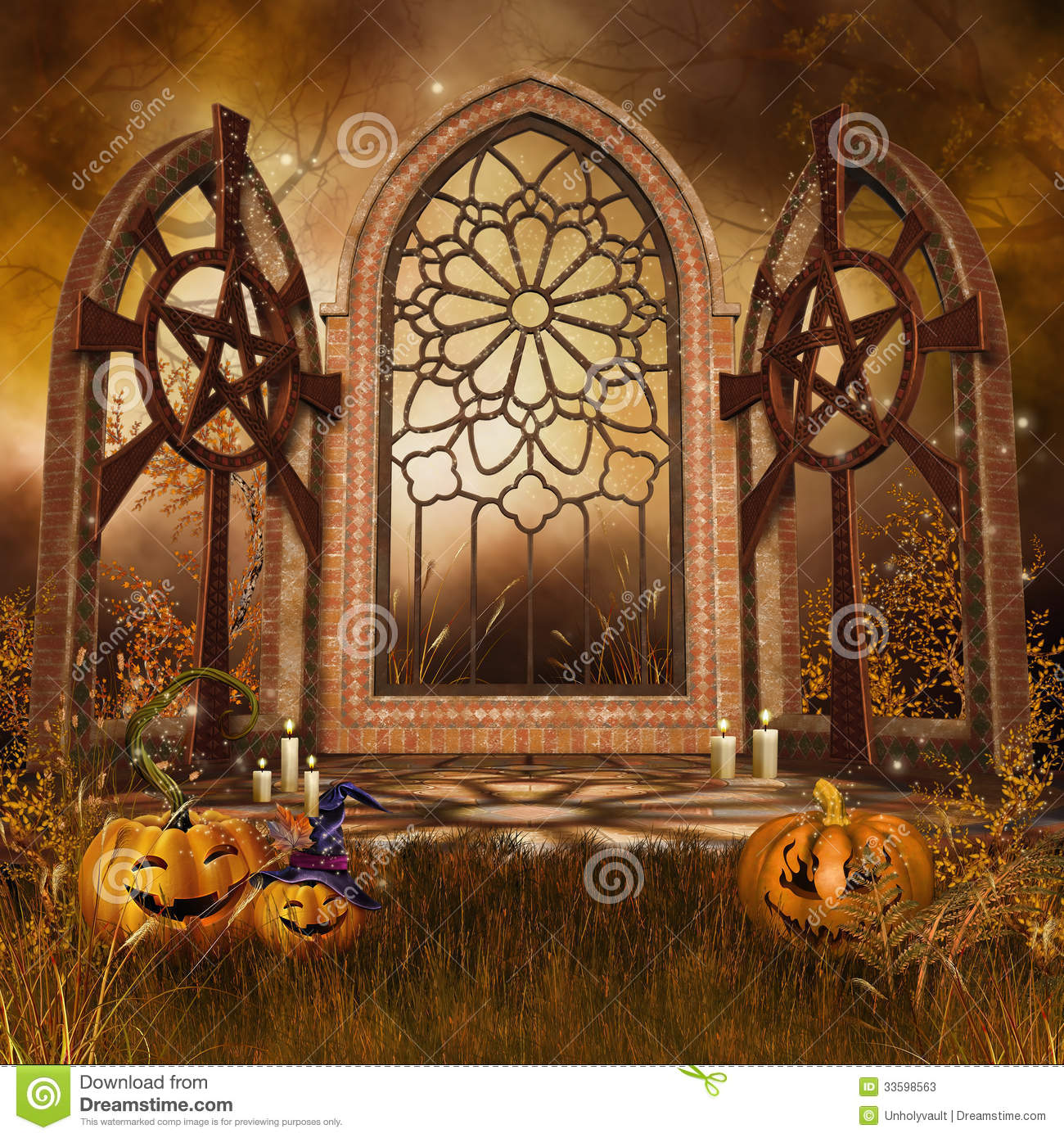 Cute Halloween Wallpaper Backgrounds Gothic Shrine With Pumpkins Stock Illustration