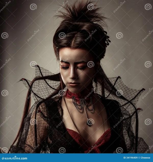 Gothic Style Model Girl Portrait Stock - 34196409