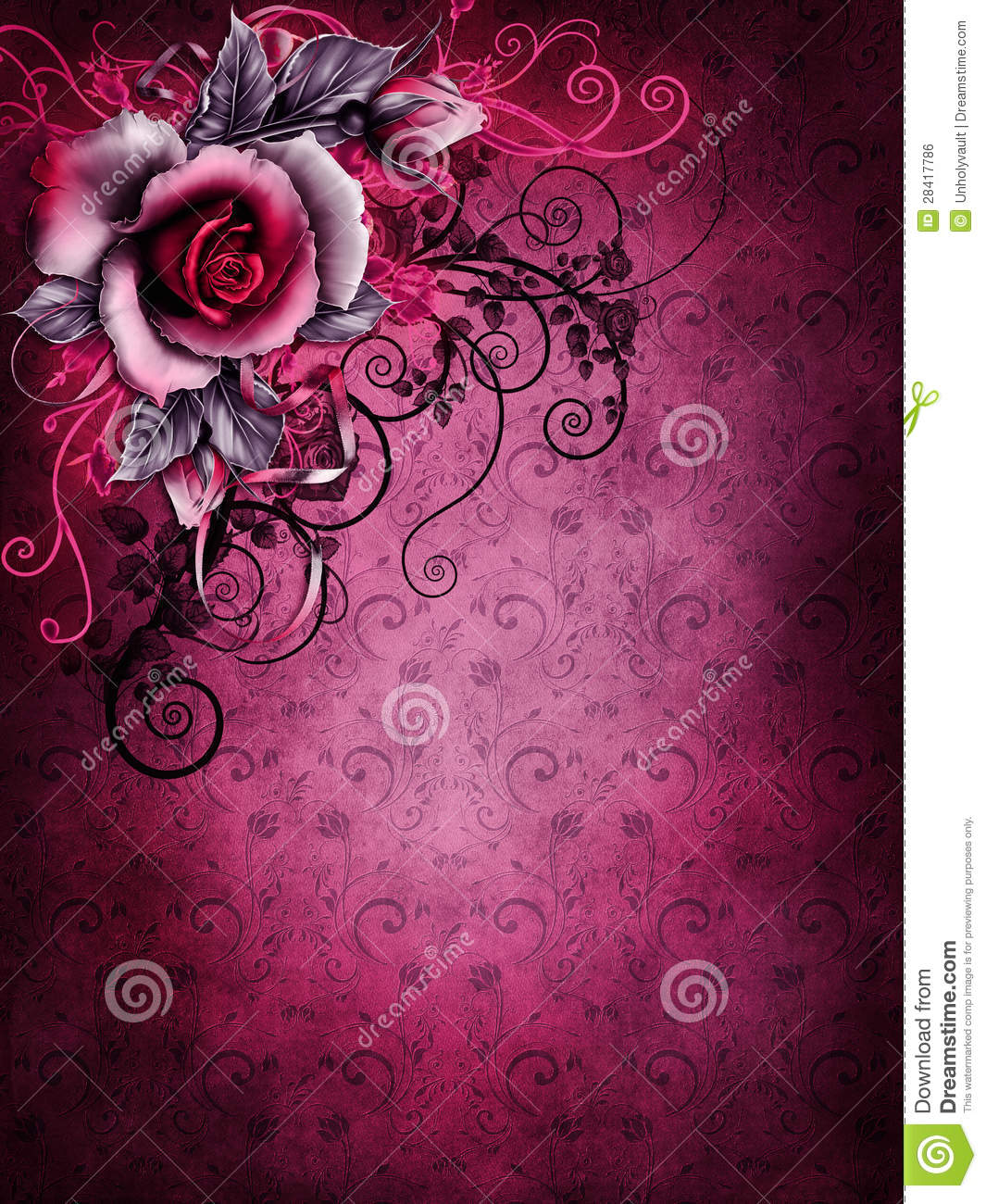 Gothic Valentine Rose And Ornaments Stock Illustration
