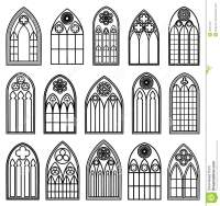 Gothic Window Silhouettes Stock Vector - Image: 49121152