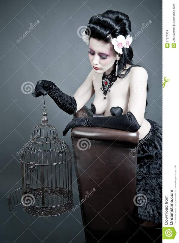 Gothic Woman With Empty Birdcage Stock - Of
