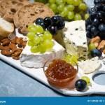 Gourmet Cheese Platter Fresh Ciabatta Grapes And Jams Stock Photo Image Of Board Knife 158586148