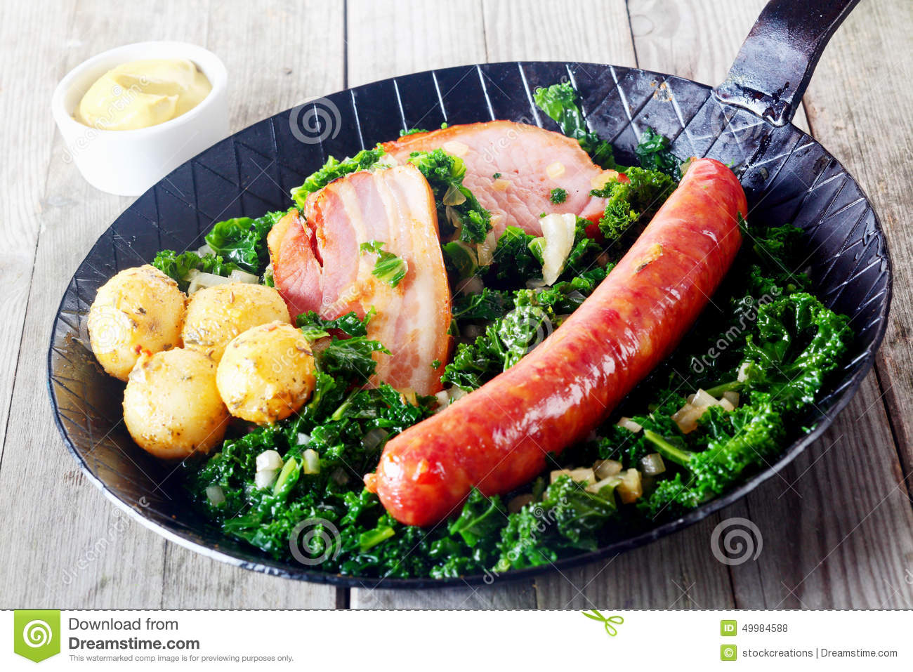 Gourmet German Cuisine On Pan With Mustard On Side Stock Photo Image Of Lunch Chop 49984588