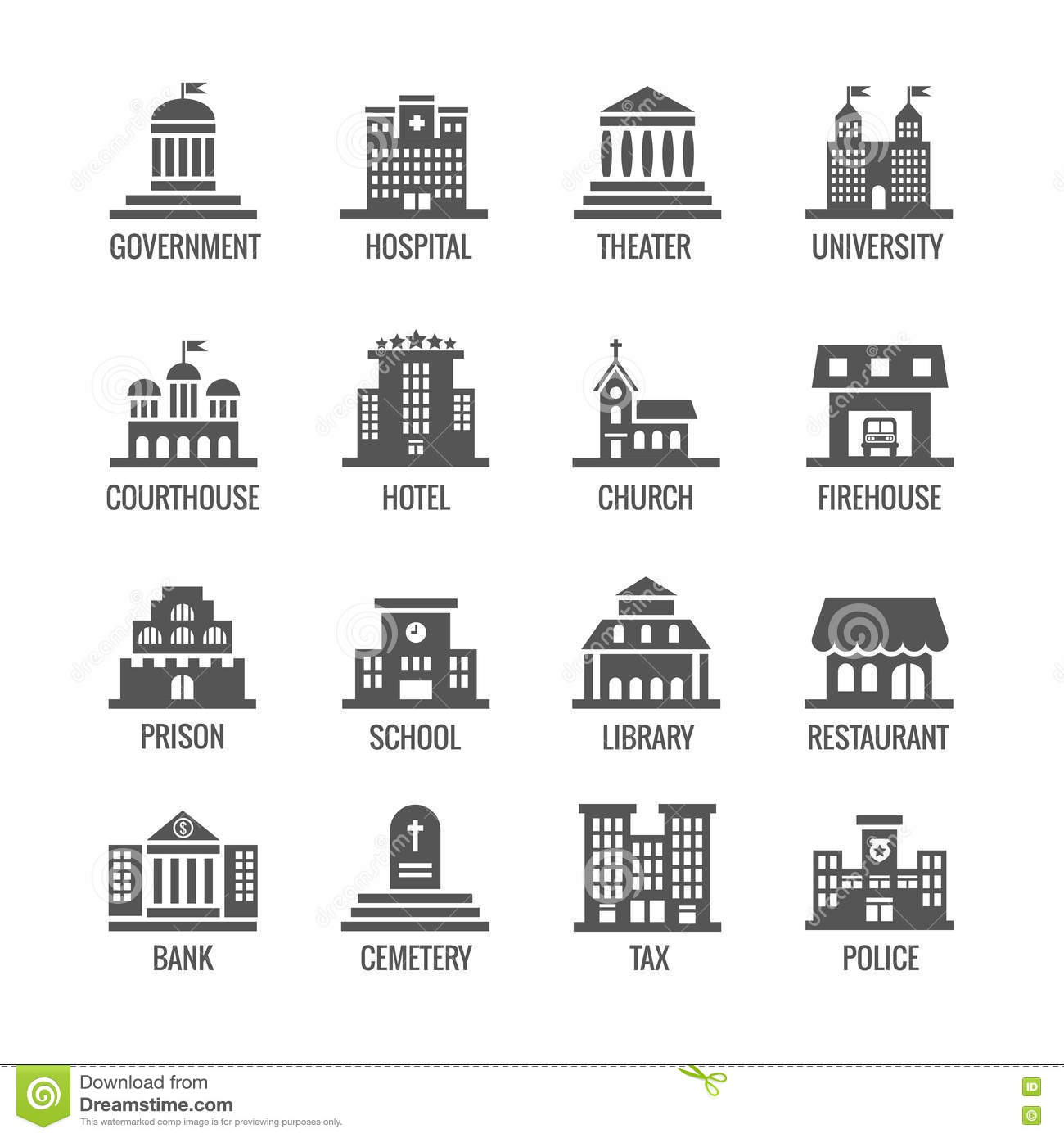 Government Public Building Vector Icons Set Stock Vector