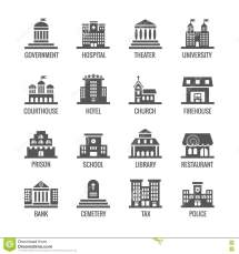 Government Public Building Vector Icons Set Stock