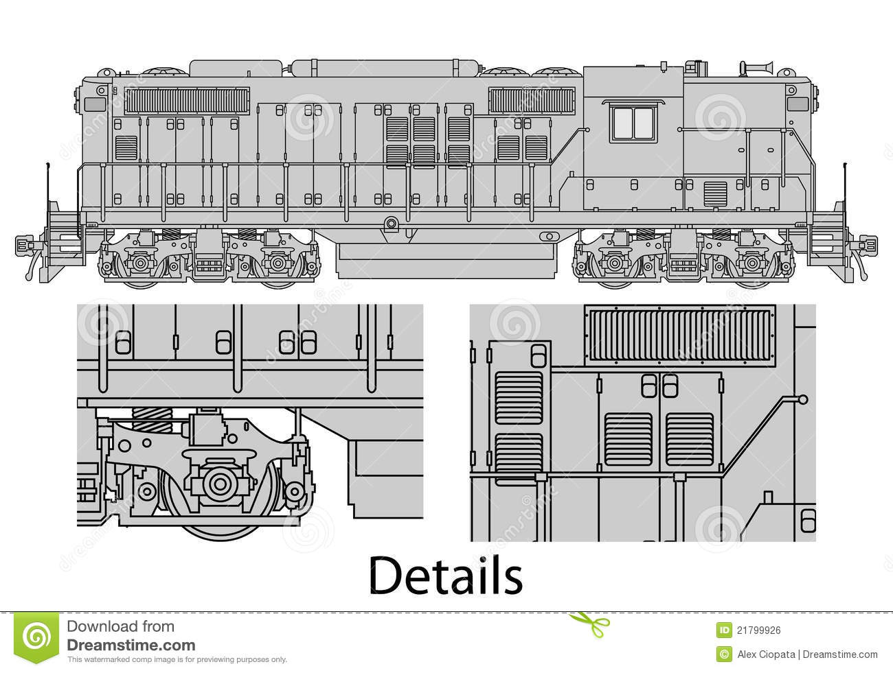 hight resolution of high detailed vector illustration of modern diesel electric locomotive