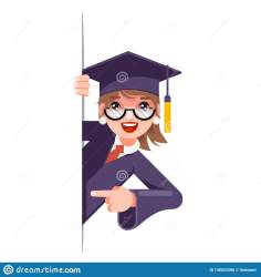 student graduate cartoon graduation corner female college happy excited pointing woman cap character scroll promotion finger