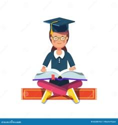 student graduate cartoon reading pose hat carpet sitting flat board
