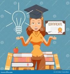 cartoon student graduate certificate character university college