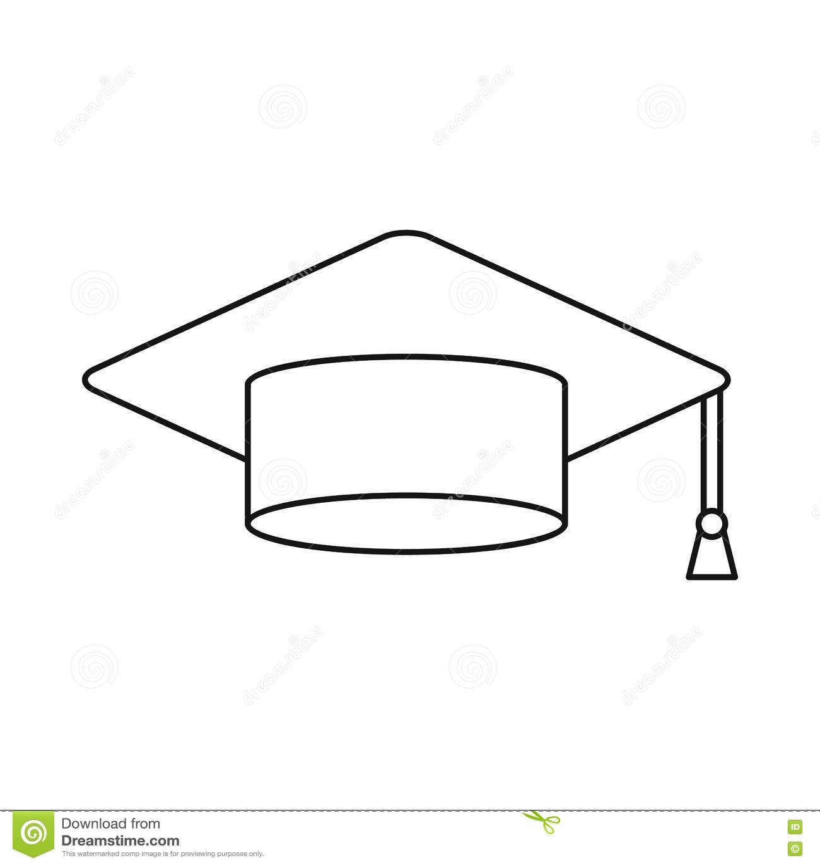 Graduation Cap Icon, Outline Style Vector Illustration