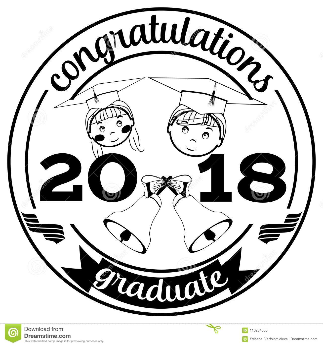 Graduation Of 2018 Vector Flat Illustration Stock Vector
