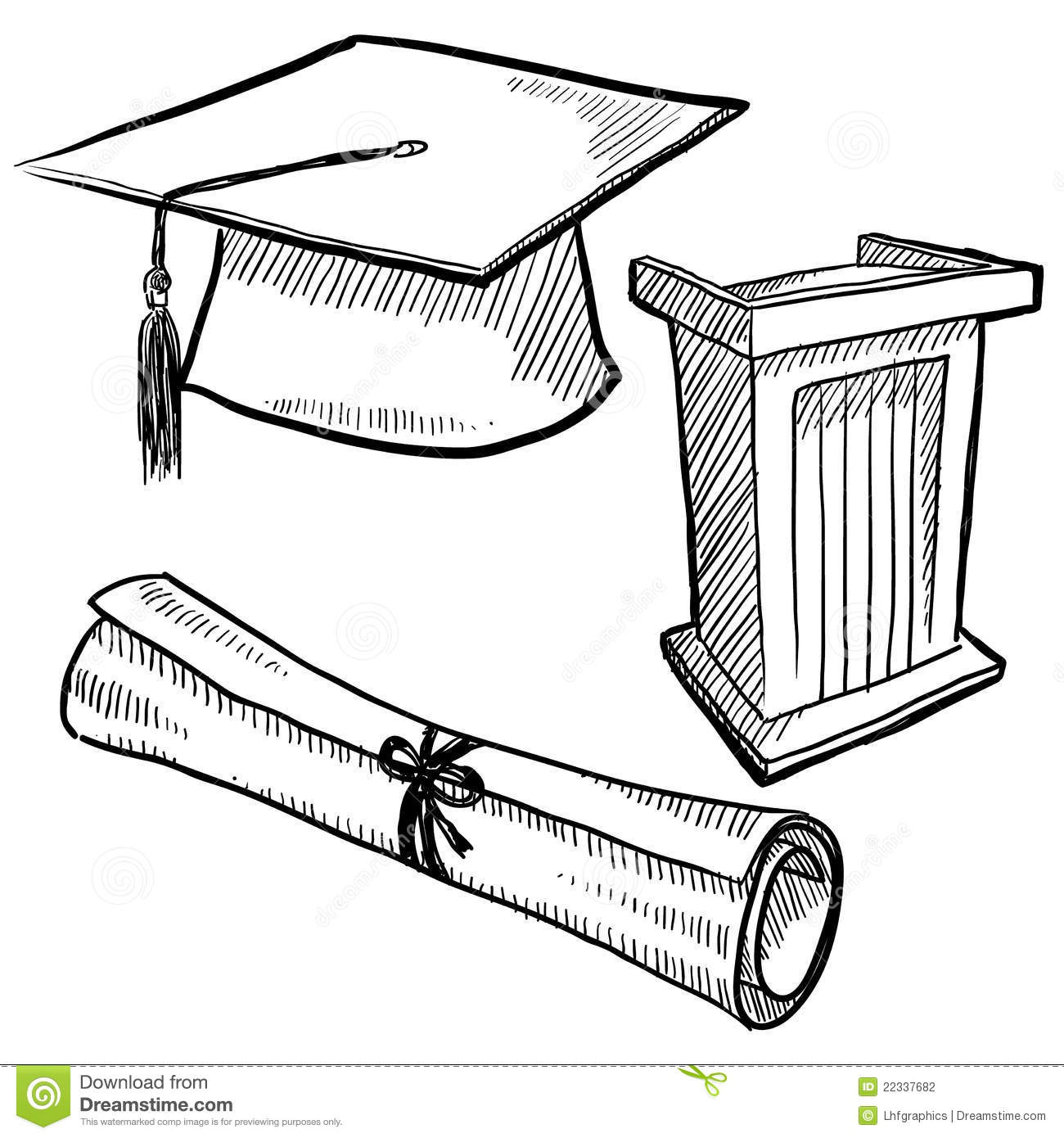 Graduation objects sketch stock vector. Illustration of