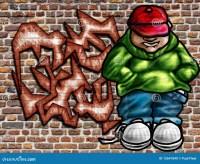Graffiti art on wall stock illustration. Image of ghetto ...
