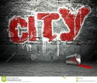 Graffiti Wall With City, Street Background Royalty Free ...