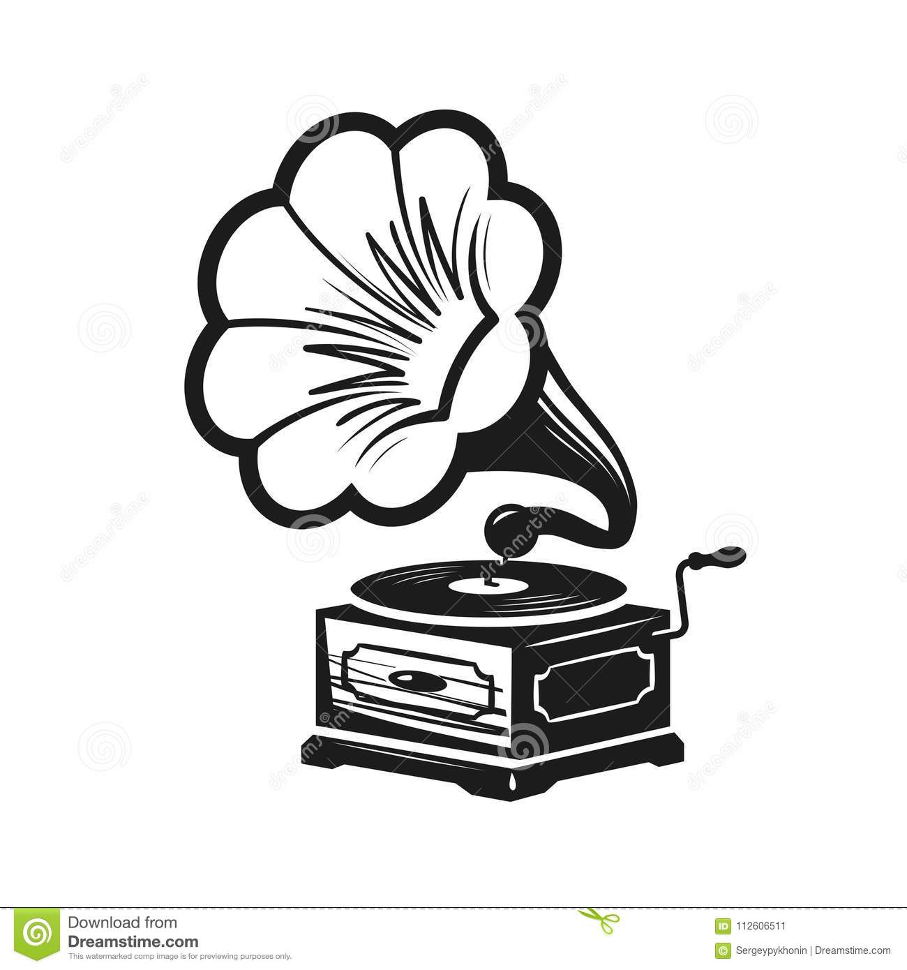 Gramophone Phonograph Logo Or Label Record Player Icon