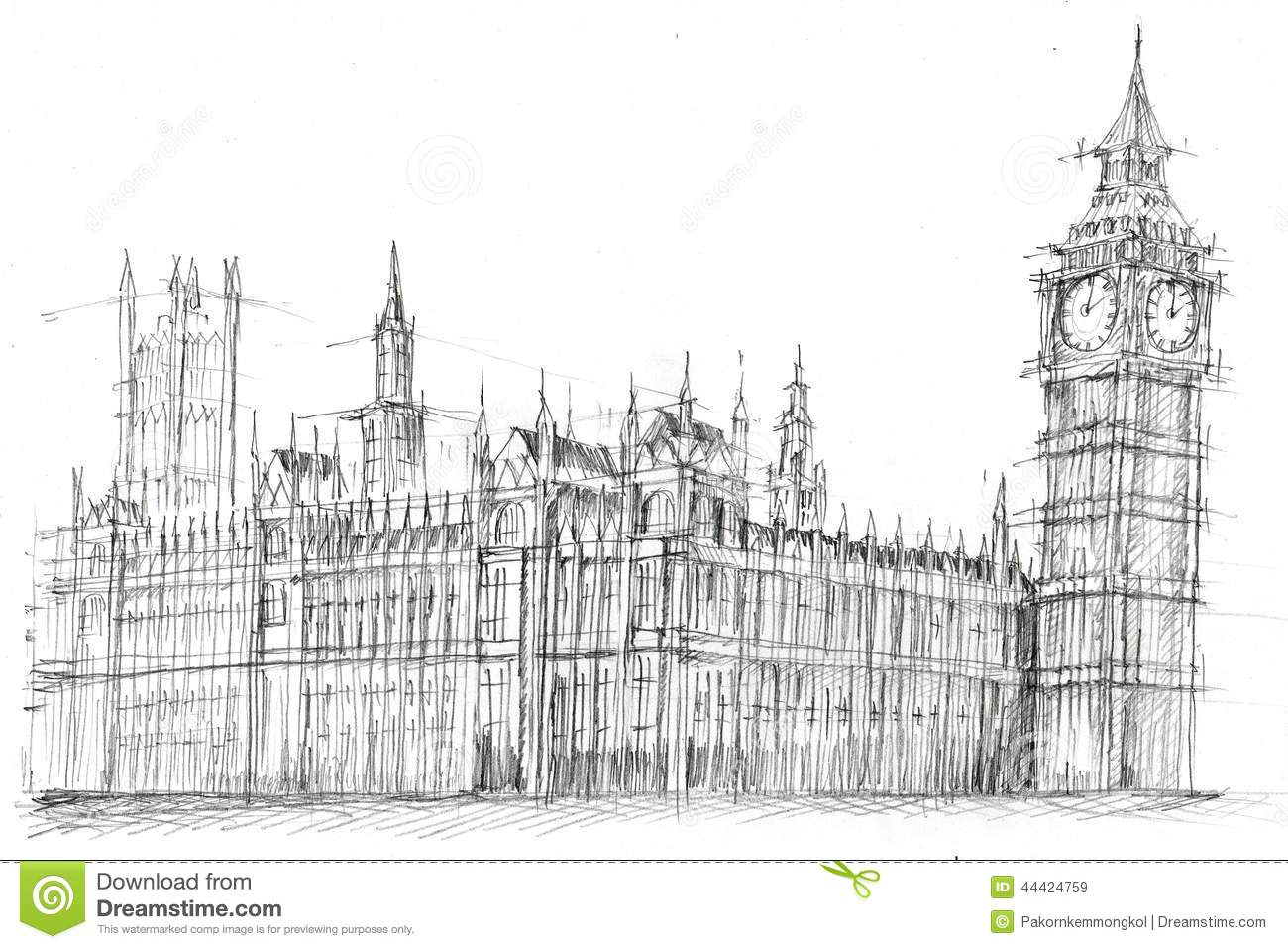 Grand Ben London Pencil Drawing Illustration Stock