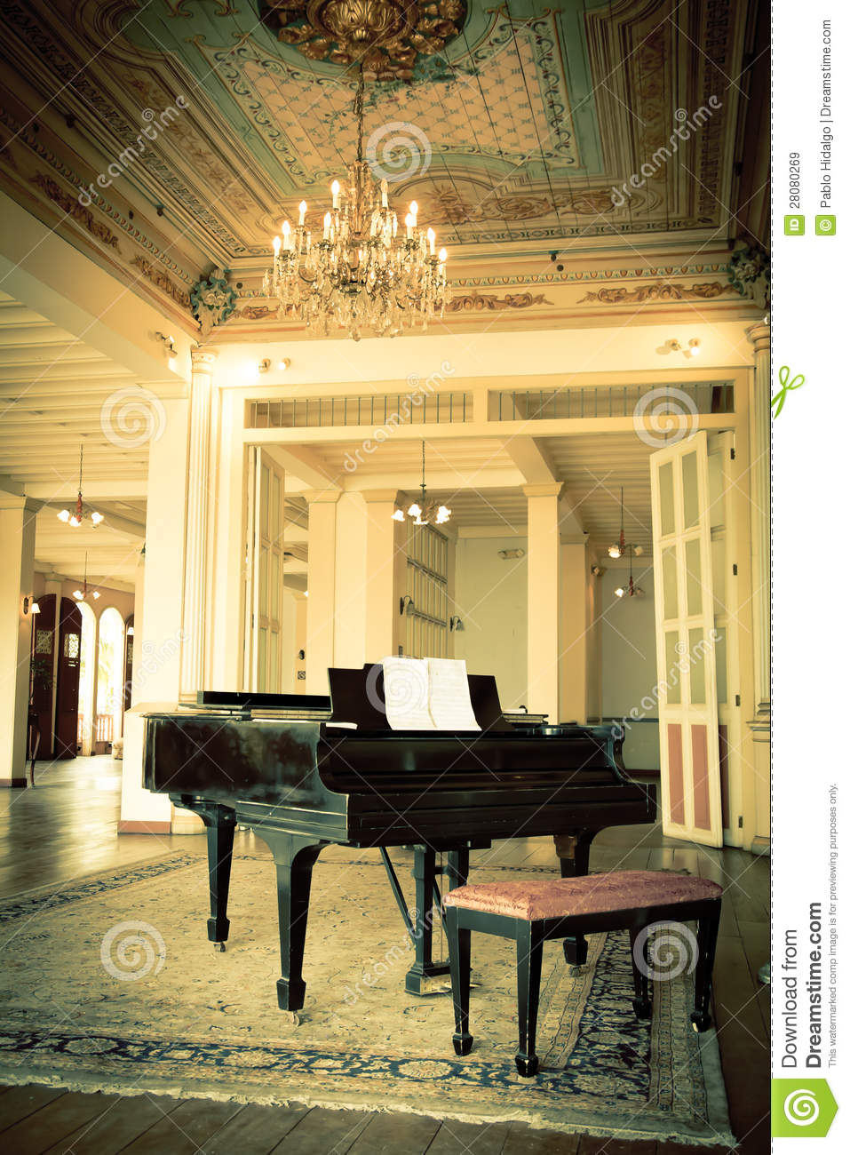 Grand Piano In A Old Vintage Luxury Interior Royalty Free Stock Images  Image 28080269