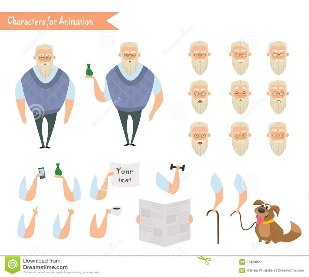 medium resolution of grandfather character for scenes parts of body template for animation funny old man cartoon emoji face icons