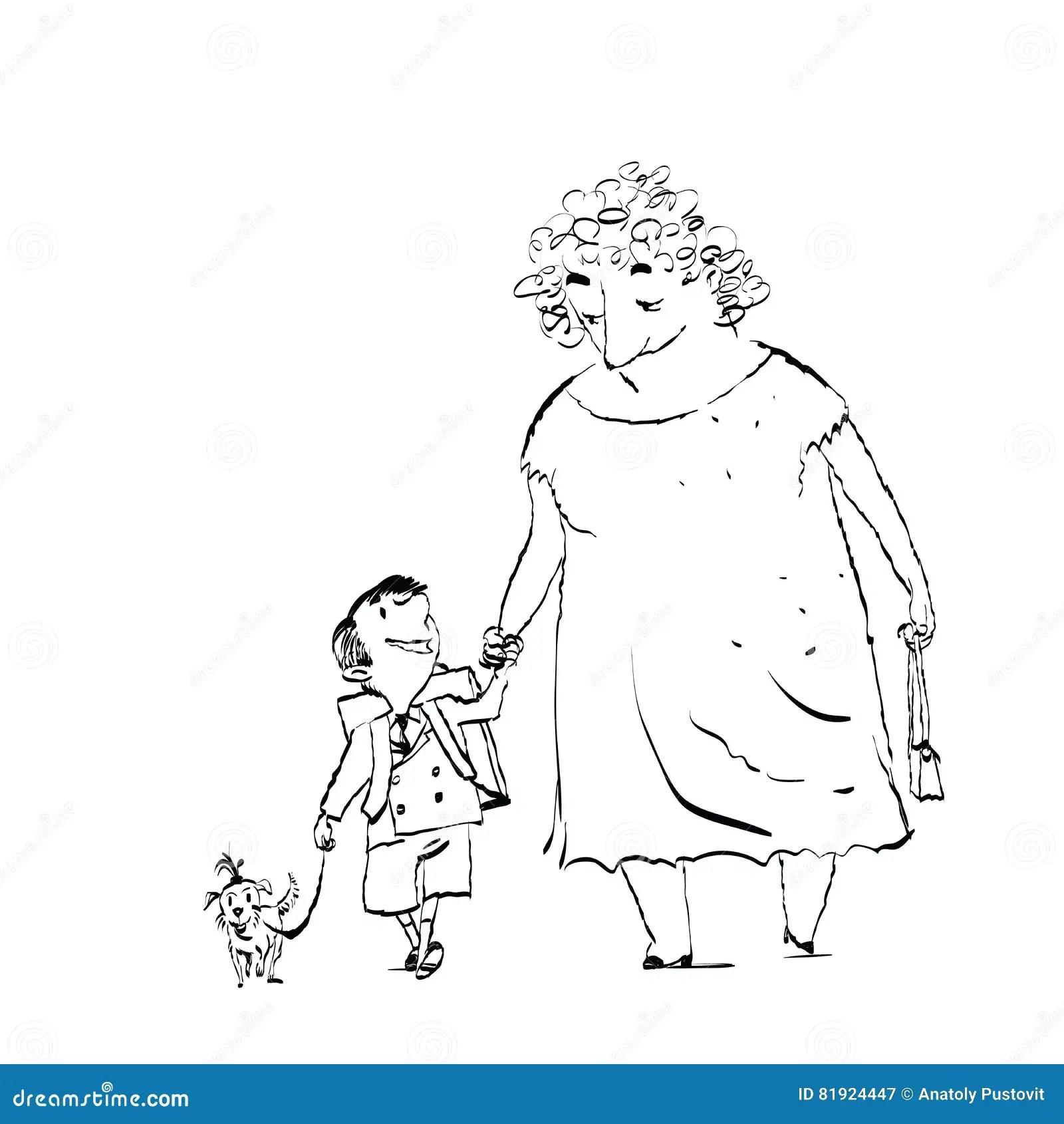 Grandma Grandson And Dog On A Walk Stock Vector