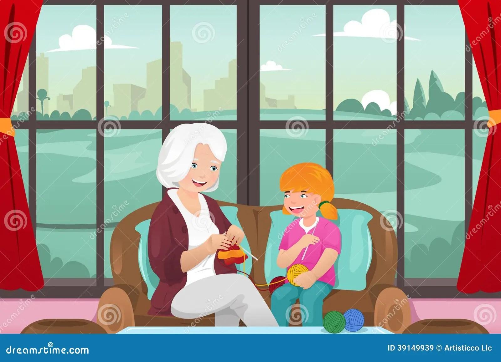 Grandma Teaching Her Granddaughter Knitting Stock Vector