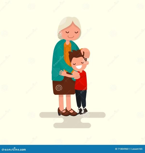 Grandson Hugging Grandmother. Vector Illustration