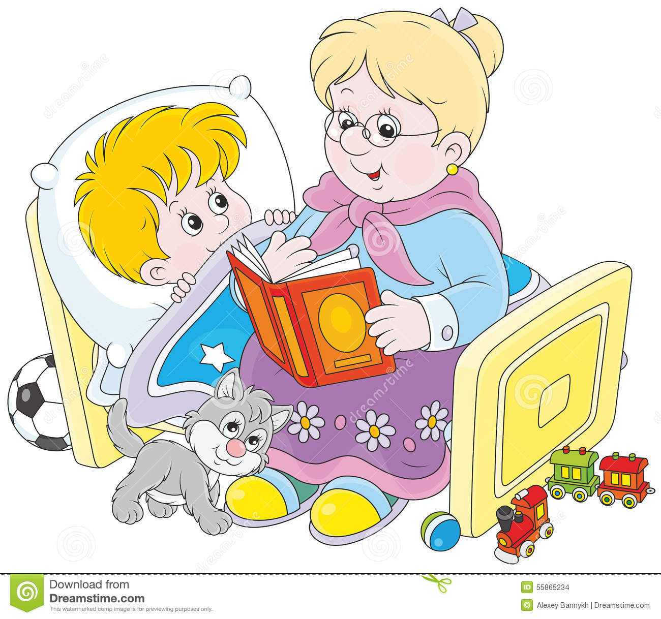 Granny And Grandson Reading Fairytales Stock Vector