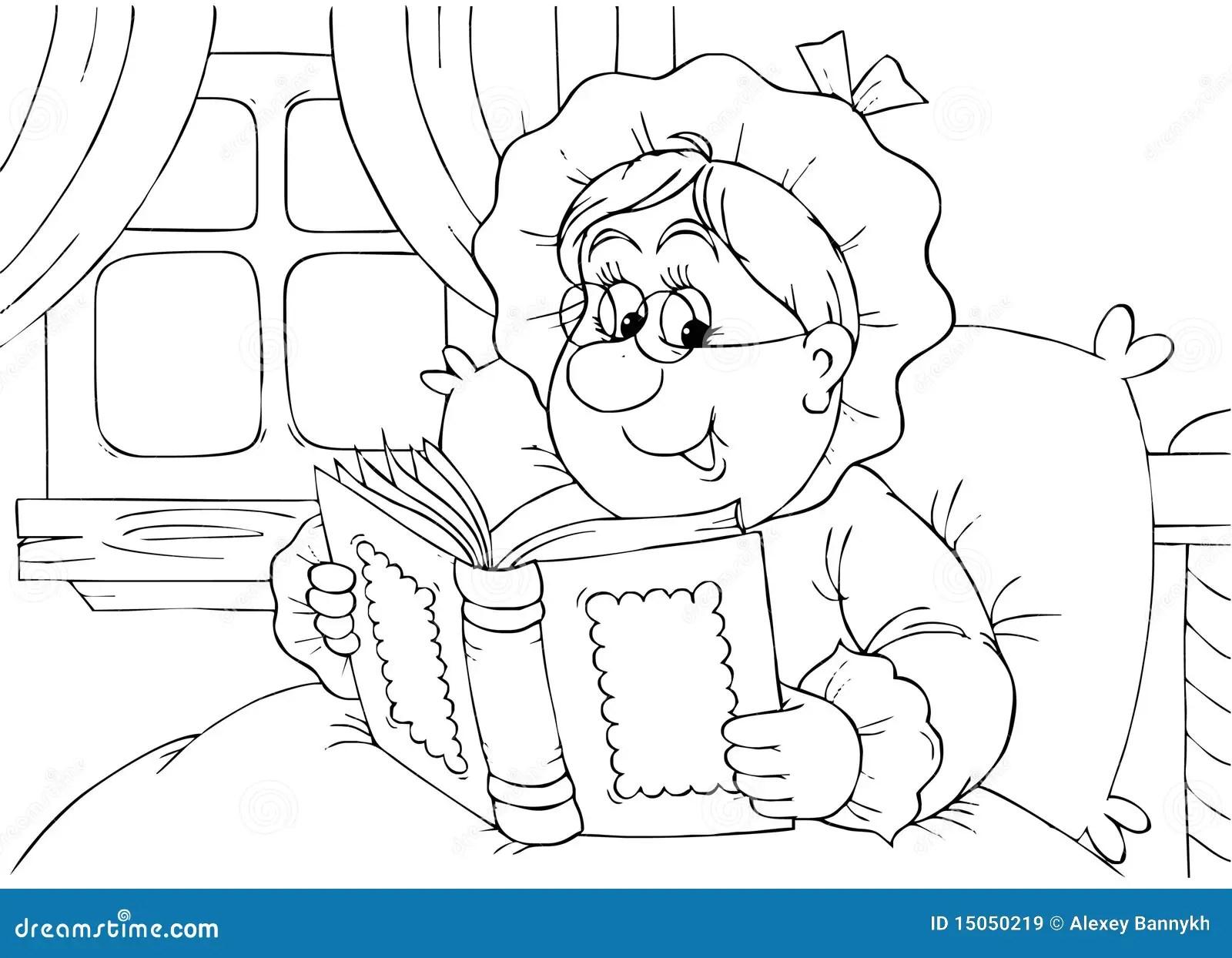 Granny Reads A Book Stock Illustration Illustration Of