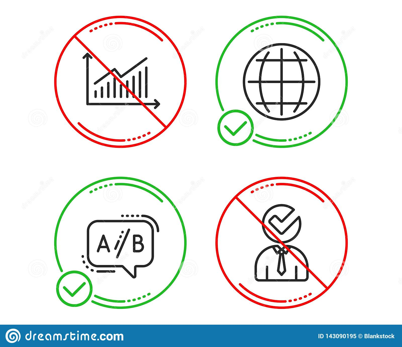 hight resolution of do or stop graph ab testing and globe icons simple set vacancy sign presentation diagram test chat internet world businessman concept business set