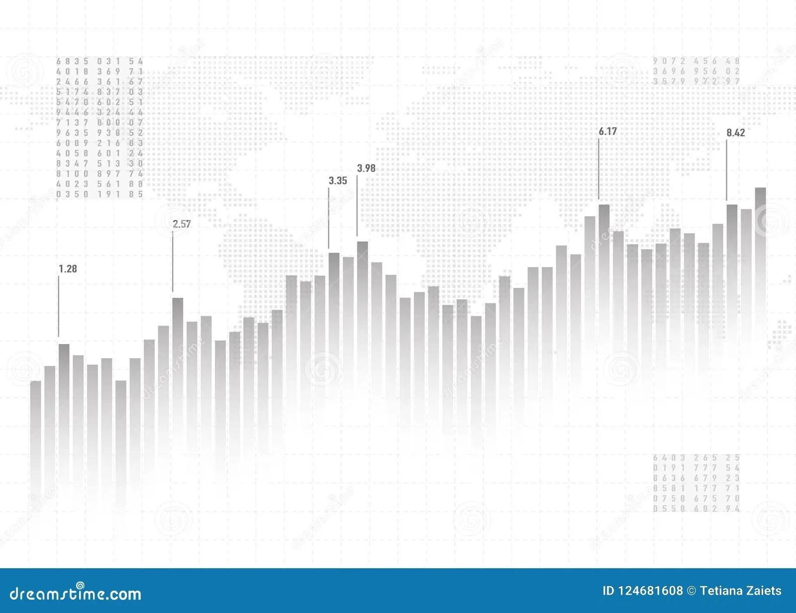 Graph Chart Data Background. Finance Concept, Gray Vector