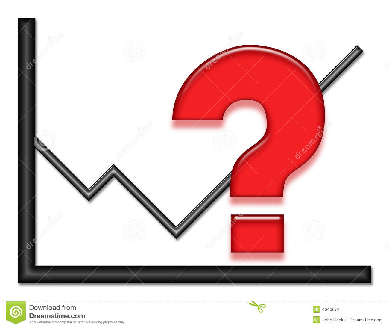 Graph With Red Question Mark Stock Illustration