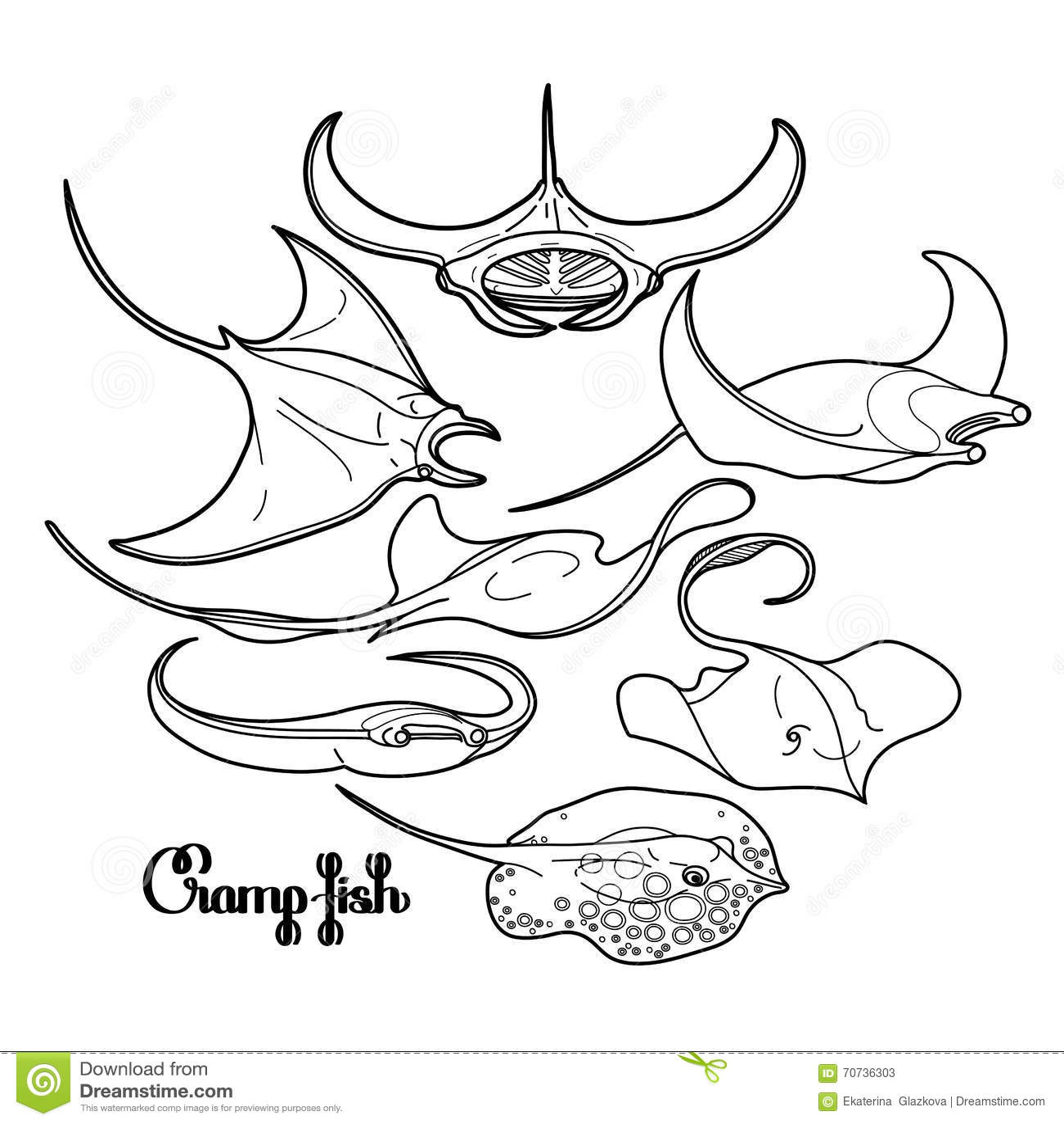 Cramp Fish Cartoon Vector